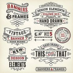 Vintage Graphic Design Banners and Frames Hand Drawn Royalty Free Stock Vector Art Illustration - Set of ornate hand drawn design elements.File is grouped and layered with global colors.More works like this linked below. Vintage Frames, Rotulação Vintage, Vintage Logos, Vintage Graphic, Vintage Fonts Free, Logos Retro, Logo Design, Lettering Design, Web Design