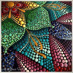 I love the metallic quality this artist has achieved. Mandala Art, Mandala Meditation, Mandala Canvas, Mandala Rocks, Mandala Painting, Mandala Pattern, Mandala Design, Dot Art Painting, Pebble Painting