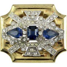 1930's McClelland Barclay 2-Tone Art Deco Brooch Pin with Sapphire Blue Rhinestones