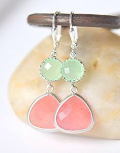 Coral and Mint Earrings.