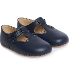 Early Days Navy Blue Leather 'Alex' Pre-Walker Shoes (115 BRL) ❤ liked on Polyvore featuring baby girl and shoes