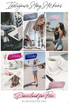 Use these fun days of the week sparkly  stickers to create stylish Instagram stories. Perfect for bloggers and influencers. Download the Instagram stickers for FREE! | Blush Created