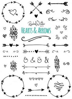 Hearts & Arrows - Vector & PNG Illustrations by Rachel White Art on Etsy