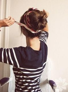 Big bun with a scarf. Needing a new easy hair-do :) love this!
