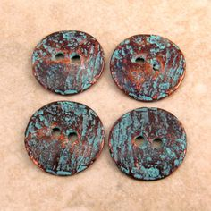 Mykonos Casting Cornflake Button Green Patina 16mm 4 by FabBeads, $3.25