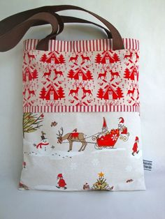 52a82083a2 SALE Cotton Christmas Tote - Christmas shoulder bag