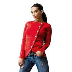 MChoice Women Fashion Slim Button Casual Blazer Suit Lady Jacket Coat (L, Red)