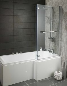 L Shaped Master Bathroom Lovely L Shaped Bath Features P Shaped Bath, L Shaped Bathroom, Bathroom Layout, Bathroom Sets, Bathroom Interior, Glass Shower, Shower Tub, Dream Shower, Bath Shower Screens