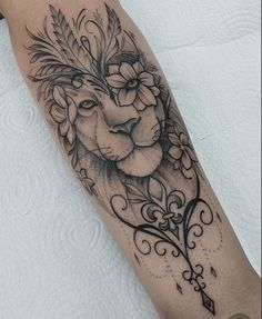 40 Photos lion tattoos [Female and male] # 2 - Top Tattoos Forarm Tattoos, Leo Tattoos, Mini Tattoos, Rose Tattoos, Feminine Tattoo Sleeves, Feminine Tattoos, Unique Tattoos, Lion Tattoo Design, Tattoo Designs