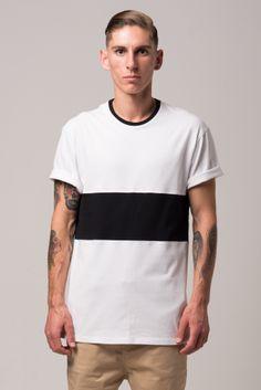 Panel Two Tee. White/Black Menswear, Tees, Mens Tops, T Shirt, Collection, Black, Fashion, Male Clothing, Moda