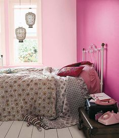 Awesome Bedroom Designs for Young Women : Awesome Bedroom Designs For Young Women With Pink Wall And Windows And Lantern And White Bed Pillo...