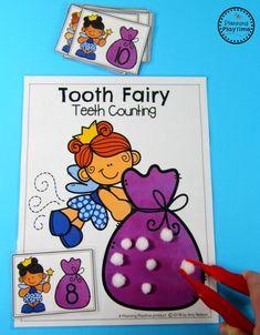 Dental Health Theme - Tooth Fairy Teeth Counting Game #dentalhealth #preschool #preschoolworksheets #preschoolcenters
