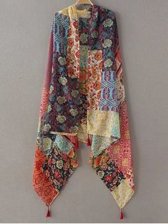 Flower Patchwork Tassel Pashmina - YELLOW