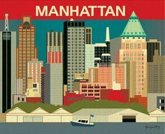 Manhattan, New York Skyline - 11 x 14 print - Modern Wall Art of NYC for office, gifts, and home decor - style sold by Loose Petals. Shop more products from Loose Petals on Storenvy, the home of independent small businesses all over the world. Nyc Skyline, Manhattan Skyline, New York City Skyline, Skyline Art, Manhattan New York, New York Poster, Nyc Decor, City Scene, Vintage Travel Posters