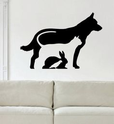 Dog Cat Rabbit Bird Silhouette Design Animal Decal Sticker Wall Vinyl Decor Art