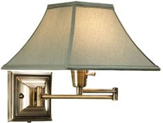 Distressed/Antique Brass Shaded Swing-Arm Pin-up Bedroom Bedside Reading Lamp #HomeDecoratorsCollection #Traditional