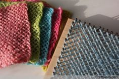 Weaving on mini looms. Directions to weave and make your own loom in CraftSanity…