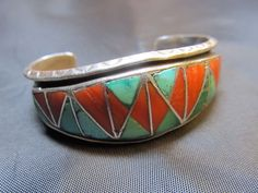 H-L Zunie Sterling Silver Turquoise Cuff Bracelet-Southwest Native Old Pawn Zuni