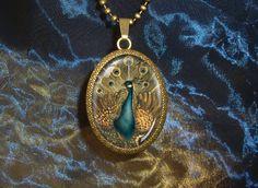 Peacock Extra Large bronze Art Pendant with door WildBuzzJewellery