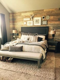 Stained Shiplap wall for cozy bedroom home decor