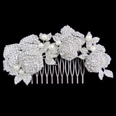 453 Wedding Rose Flower Pearl Hair Comb Swarovski by Annamall, $32.99