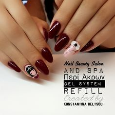 Long red almond shape nails, gel nails, santoro Gorjuss handpainting gel nail art, 3D bow design