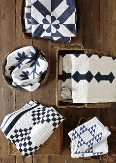 Blue and white two color quilts are always timeless.    With Hook and Needle