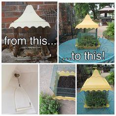 Convert a bird cage to decorative planter