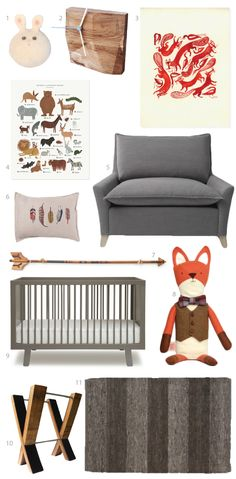 nursery- could care less about the nursery stuff, I want the stuffed fox, the posters and the squishy looking chair :)