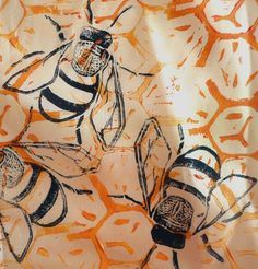 one of my first attempts at lino block printing!! really happy with how the honey bee turned out!!!
