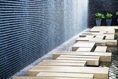 Huge wall with running water. Pinned to Garden Design - Water Features by Darin Bradbury. Landscape And Urbanism, Modern Landscape Design, Modern Landscaping, Contemporary Landscape, Outdoor Landscaping, Ideas Terraza, Modern Water Feature, Water Architecture, Parks