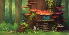 Fantasy Forest, Forest Art, Fantasy Art, Fairy Drawings, Cartoon Drawings, Cartoon Art, House Illustration, Illustrations, Fantasy Landscape