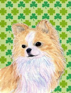 Buy this Chihuahua St. Patrick's Day Shamrock Portrait Flag Canvas House Size