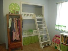 WOW!! They put the bunk beds in the closet. This works because the kids can put up their own personal posters and whathaveyous...WOW!!