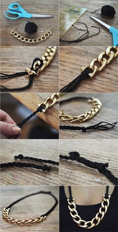 diy collar de cadena y cordon
