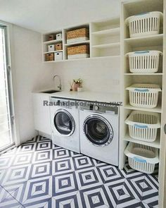 Laundry room storage ideas include installation of stock cabinetry, racks, shelves, etc. in a smart way to make the room look elegant and organized. room ideas organization 15 Perfect Small Laundry Room Storage Ideas To Consider 2 Modern Laundry Rooms, Laundry Room Layouts, Laundry Room Remodel, Laundry Room Cabinets, Farmhouse Laundry Room, Laundry Room Organization, Diy Cabinets, Laundry Storage, Organized Laundry Rooms