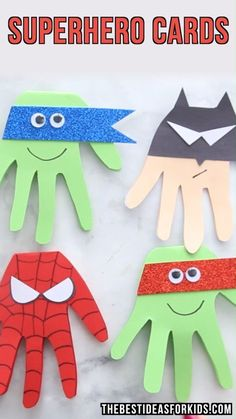 Craft Cards - these are adorable for a superhero birthday party. Spiderman, Batman, Ninja Turtle Birthday Ideas for KidsSuperhero Craft Cards - these are adorable for a superhero birthday party. Spiderman, Batman, Ninja Turtle Birthday Ideas for Kids Craft Activities, Preschool Crafts, Fun Crafts, Decor Crafts, Super Hero Activities, Felt Crafts Kids, Painting Activities, Children Crafts, Simple Crafts