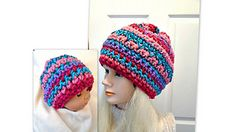 FREE CROCHET PATTERN, make this cute hat using up scraps of yarn! Quick and easy, beginners can achieve this hat.