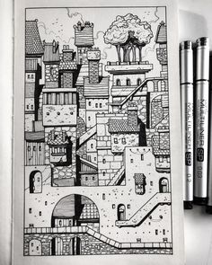 Drawings, doodles, and design — Sketchbook Cityscape. Completed this little sketch… Drawings, doodles, and design — Sketchbook Cityscape. Sharpie Doodles, Ink Doodles, Sharpie Art, Sharpie Projects, Sharpie Drawings, Pencil Art Drawings, Art Drawings Sketches, Black Pen Sketches, Flower Drawings