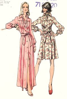 """1970's Shirtwaist Dress Button Down Belted Cocktail or Evening Length Size 8 Bust 31.5""""  Simplicity 5909 Womens Sewing Pattern by Sutlerssundries on Etsy"""