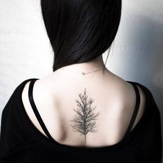 "cutelittletattoos: ""Tree tattoo on the upper back. Healed (1 year and 6 months). Tattoo artist: Hongdam """