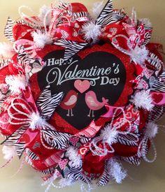 Valentine's Day mesh wreath