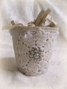 Shabby White Altered Peat Pot Cottage Decor Altered by QueenBe, $14.00