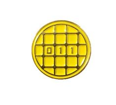 """- 3/4"""" x 3/4"""" circle soft enamel lapel pin - Gold metal outline with golden-yellow background - Rubber backing By The Wild Wild Press"""