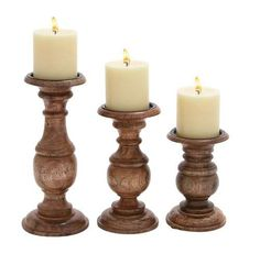 Deco 79 Wood Candle Holder, 10 by 8 by 6-Inch, Chestnut F…