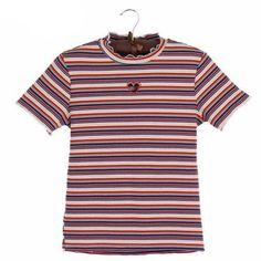 Stripe Shirt with Heart Cutout