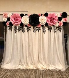 Cake table backdrop is up for today's Chanel Inspired Party. I forgot my etension cord so no dreamy lights when I took this photo last… Paper Flower Wall, Paper Flower Backdrop, Giant Paper Flowers, Paper Roses, Birthday Decorations, Wedding Decorations, Serviettes Roses, Cake Table Backdrop, Party Lights