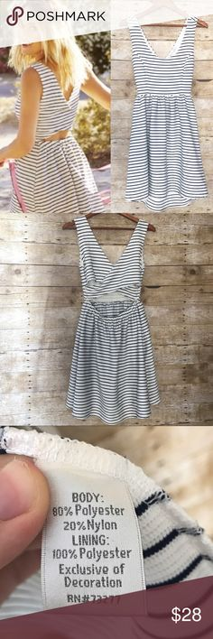 Lauren Conrad white and navy Striped Summer Dress Super cute Lauren Conrad striped dress! White with navy stripes. Excellent used condition! Throw it on with a pair of wedges and some sunnies and you're good to go this summer. 80% polyester, 20% nylon, lining is 100% polyester. See pics for measurements! LC Lauren Conrad Dresses
