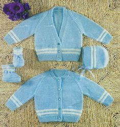 PDF Instant Digital Download baby cardigan bonnet bootees knitting pattern 18 to 20 inch (481) by PatternsFromDaisylin on Etsy