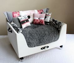 Luxury Dog Bed. The Shabby Parisian Pet Lounger. $1,050.00, via Etsy. i will attempt to make my own, but sized for a cat...